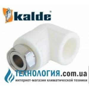 """Угол (колено) комбинированный Kalde с накидной гайкой 20x1/2"""", цвет белый"""