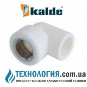 """Угол (колено) комбинированный Kalde с внутренней резьбой 20x1/2"""", цвет белый"""