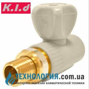 """Прямой радиаторный шаровый кран K.l.d  20x1/2"""" c американкой"""