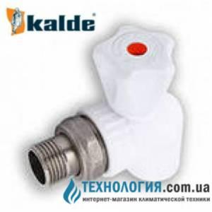 """Угловой радиаторный шаровый кран Kalde  20x1/2"""" c американкой, цвет белый"""