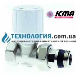 Терморегулирующий вентиль прямой 1/2 с резьбой  28 х 1,5, с возможностью установки термоголовки