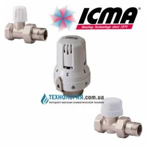 """Комплект прямых термокранов и термоголовки Icma 1/2"""", восковый элемент"""