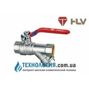 Кран шаровый с фильтром для водомера HLV Optima 1/2'' вв кран рычаг