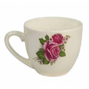 Комплект керамических чашок «Одесса» белая с деколью (в ассортименте) от 6 шт