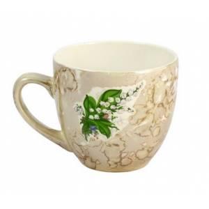 Комплект керамических чашок «Одесса» мрамор с деколью (в ассортименте) от 6 шт