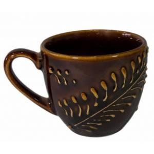 Комплект керамических чашек «Одесса» рифленка коричневая от 6 шт