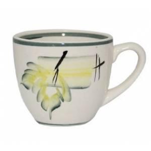 Комплект керамических чашек «Одесса» рисовка осень зелёная от 6 шт