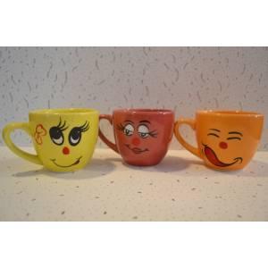 Комплект керамических чашок «Одесса» рисовка Смайлики(цвета в ассортименте) от 6 шт