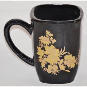 Чашка квадрат черная с деколью 1 шт.
