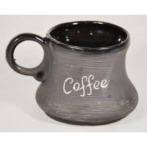 Глиняная кружка кофе черная матовая обьем 0,2 л
