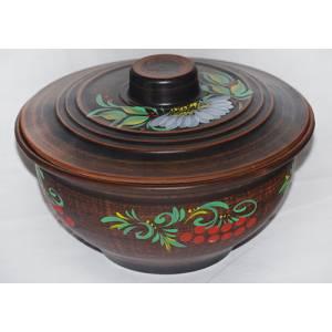 Глиняная кашница с росписью обьем 1,2 л арт.0058