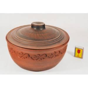 Глиняная макитра с крышкой обьем 5 л арт.17Б