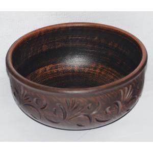 Глиняная миска гончарная резная обьем 1 л арт.0024