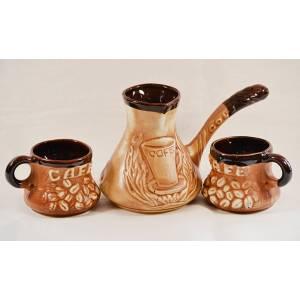 Набор Турка с двумя чашками из белой глины кофе шамот