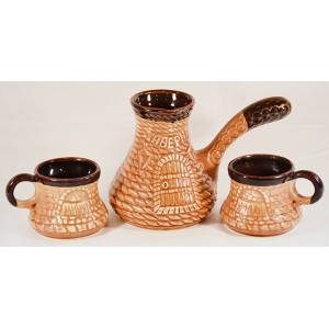 Набор Турка с двумя чашками из белой глины таверна шамот