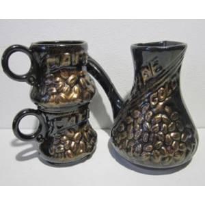 Набор Турка с двумя чашками из белой глины кофе бронза