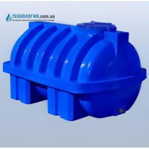 Емкость усиленная с ребром горизонтальная на 1500 литров двухслойная Euro Plast