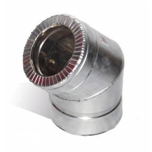 Колено из нержавеющей стали с термоизоляцией в оцинкованном кожухе 45°, Ø 110мм. нерж/оц 0,5мм