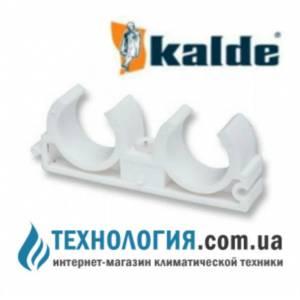 Крепление для труб Kalde двойноее *U* - типа диаметр 25 мм, цвет белый
