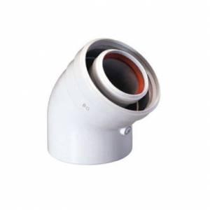 Коаксиальный отвод (уголок) BAXI 45°, диаметр 125-80, для конденсационных котлов