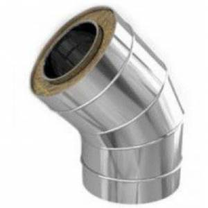 Колено из нержавейки с термоизоляцией в оцинкованном кожухе  45° , Ø 135/195 мм , сталь 0,5 мм