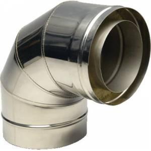 Колено из нержавеющей стали с термоизоляцией в оцинкованном кожухе 90°, Ø120/180 мм, сталь 0,5 мм