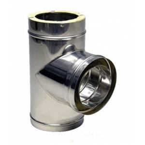 Тройник с лейкой из нержавеющей стали с термоизоляцией в оцинкованном кожухе 90°, Ø 120/180 мм, сталь 0,5 мм