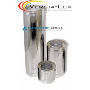 Труба из нержавеющей стали утеплённая в оцинкованном кожухе Versia Lux Ø 150/220мм длинна 1 м сталь 0,5мм