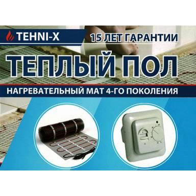 Тёплый пол-мат TEHNI-X SHHM-4-160 электрический,на площадь 4 метра квадратных,мощность 640 Вт★нагревательный кабель-двухжильный с карбоновым волокном★термостат в комплекте