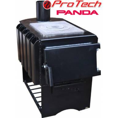 """Печь для отопления помещений Протеч """"Панда"""" ПДГ-7 кВт,булерьян на твердом топливе,обогрев до 120 метров кубических,длительного горения,конвекционная с варочной поверхностью"""