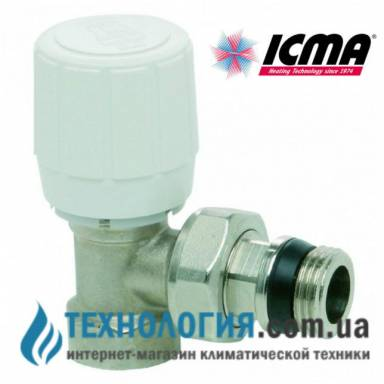 Вентиль угловой 3/4 с резьбой 28 х 1,5, с возможностью установки термоголовки