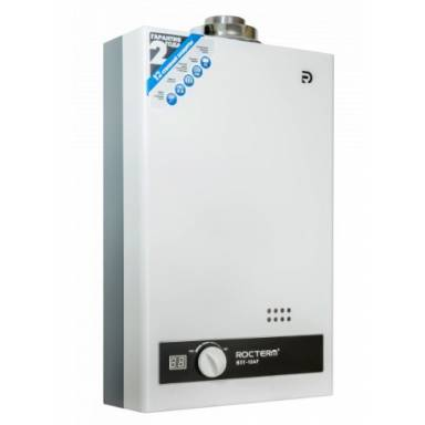 Турбированный газовый проточный водонагреватель Rocterm ВПГ-10АF турбированная , в комплекте с трубой, аторозжиг