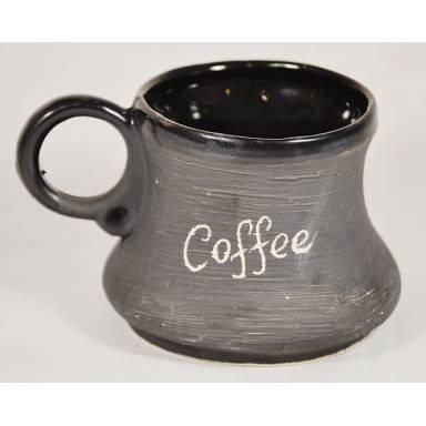 Кружка глиняная кофе черная матовая ручной работы обьем 0,2 л