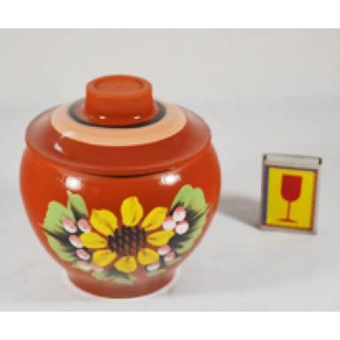 Горшок духовой глиняный ручной работы глазурь обьем 0.5 л арт.46Б