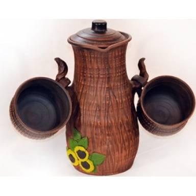 Полено гончарное с двумя чашками ручной работы обьем 2 л арт.0085
