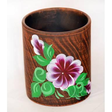 Стакан глиняный ручной работы с росписью обьем 0.4 л арт.0088