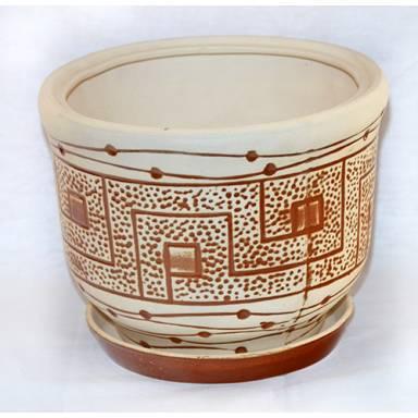 Цветочный горшок Греческий средний шамот высота 22 см глиняный ручной работы