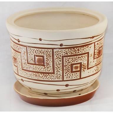 Цветочный горшок Греческий малый шамот высота 19 см глиняный ручной работы