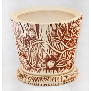 Цветочный горшок Хмель средний шамот высота 23,5 см глиняный ручной работы