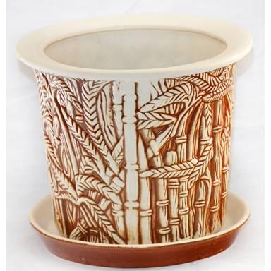 Цветочный горшок Камыш малый шамот высота 18 см глиняный ручной работы