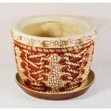 Цветочный горшок Корсет шамот высота 20 см арт.107 глиняный ручной работы