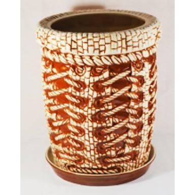 Цветочный горшок Корсет высокий шамот высота 36 см арт.108 глиняный ручной работы
