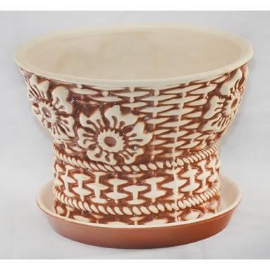 Цветочный горшок Корзина малая шамот высота 16 см глиняный ручной работы