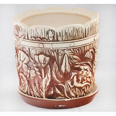 Цветочный горшок Поляна средний шамот высота 22 см глиняный ручной работы