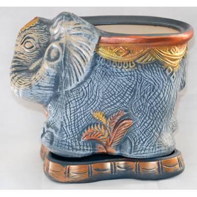 Цветочный горшок Слон малый акрил высота 24 см глиняный ручной работы