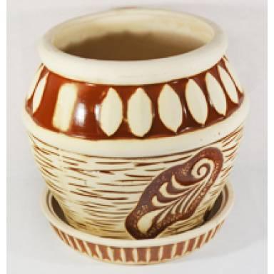 Цветочный горшок Ветка средний шамот высота 31 см арт.73 глиняный ручной работы