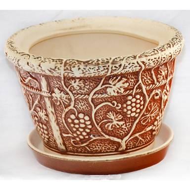 Цветочный горшок Виноград малый шамот высота 17 см глиняный ручной работы