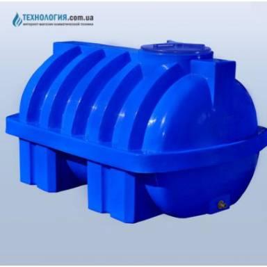 Емкость объемом 1000 литров усиленная с ребром двухслойная в горизонтальном исполнении