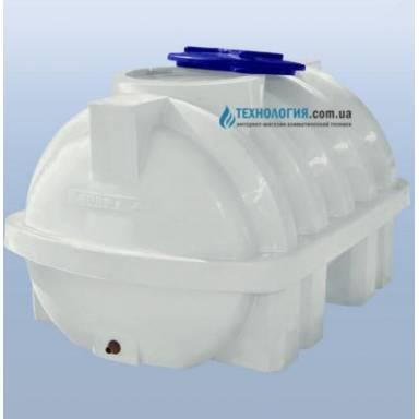 Емкость объемом 1000 литров усиленная с ребром однослойная в горизонтальном исполнении