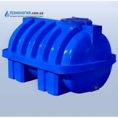 Емкость объемом 1500 литров усиленная с ребром двухслойная в горизонтальном исполнении